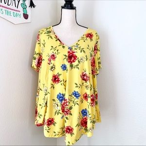 Green envelope yellow floral top